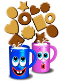 Latte e Biscotti-Breakfast-Lait et Biscuits Cartoon
