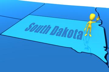 South Dakota state outline with yellow stick figure