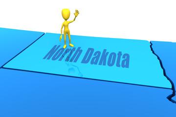 North Dakota state outline with yellow stick figure