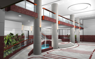 3D render of lobby of a building