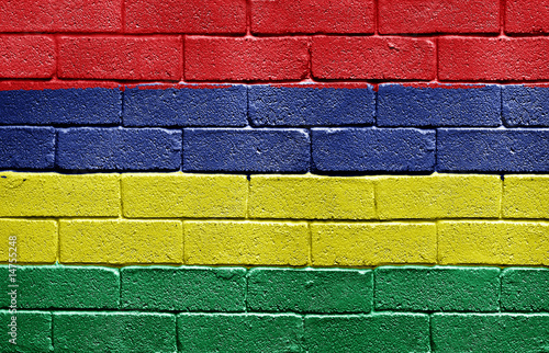Flag of Mauritius on brick wall