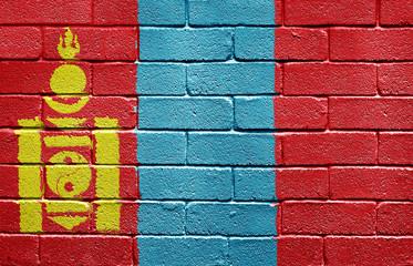Flag of Mongolia on brick wall