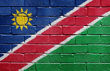 Flag of Namibia on brick wall