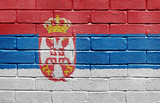Flag of Serbia on brick wall poster