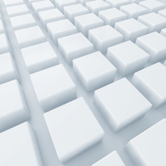 light abstract background from white cubes located in a row