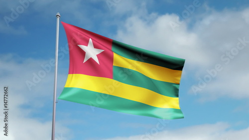 HD 1080p flag of Togo. Seamless loop.