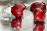 Closeup of Cherries On Ice