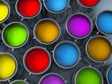 vibrant colors paint cans assortment poster