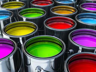 multiple paint cans with diffrent vibrant colors