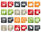 Fototapety Internet and Travel Icon Set. Tag and Label Style