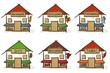6 croquis de maisons - commerce