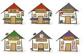 6 croquis de maisons - centre-ville