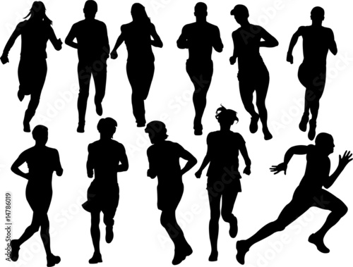 people running vector
