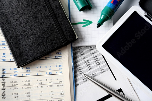 Daily financial reports, pen, marker and notepad