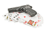 The weapon on playing cards poster