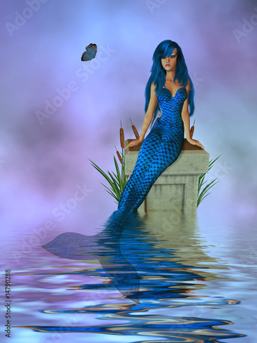 Poster Zeemeermin Blue Mermaid Sitting On A Pedastel In The Ocean
