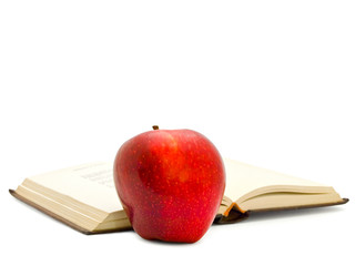 apple near the book
