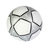 black, silver soccer ball on a white background