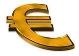 3d golden euro symbol on white background