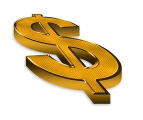 3d golden dollar symbol on white background