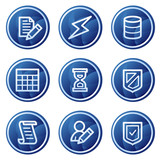 Database web icons, blue circle buttons series poster