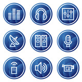 Media web icons, blue circle buttons series