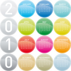 Colorful Calendar for year 2010 in a circles theme.