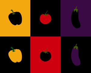 Paprika, Tomate und Aubergine auf unterschiedlichem Hintergrund