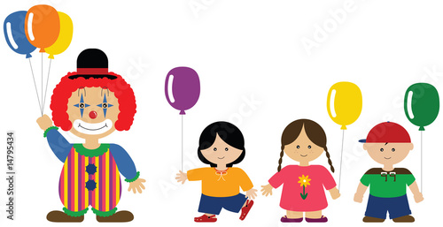 Clown giving balloons to children - 14795434