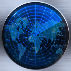 world map radar or sonar