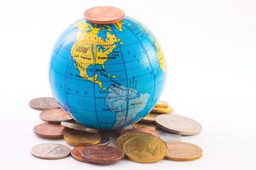 Globe on a coins