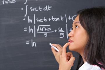 Student thinking about  mathematics problem