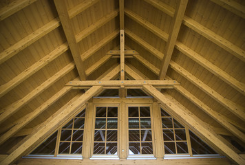 Wooden roof top construction from the inside