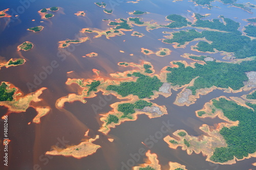 Leinwandbild Motiv Aerial view on Orinoco river in Venezuela