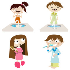 vector cartoon girl and boy