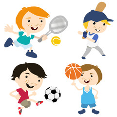 sport cartoon with four different position