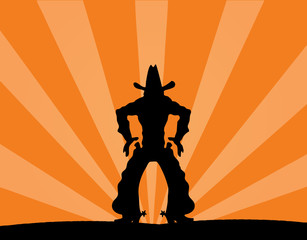 illustration of cowboy against a sunset background