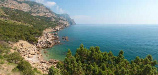 Horizontal panorama of rocky coastline