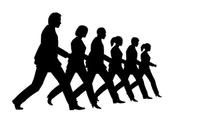 6 business people marching looping slow motion