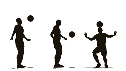 three soccer player with ball