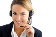 young girl in call center service