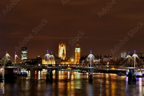 Thames river by night Poster