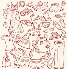 Set of woman summer clothes and accessories