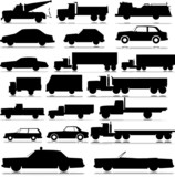 Fototapety car and truck vector silhouettes