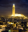 hassan II mosque night scene in casablanca morocco africa