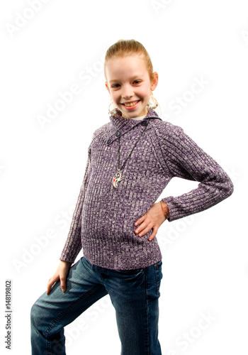 Leinwanddruck Bild Girl is posing before camera