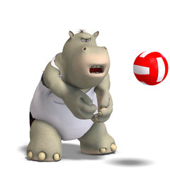 funny hippo plays volleyball