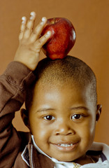 fun child with apple