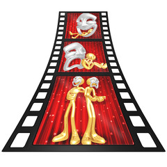 3D Gold Guy Thespian Film Strip