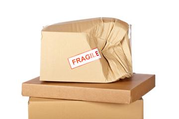 Damaged cardboard box